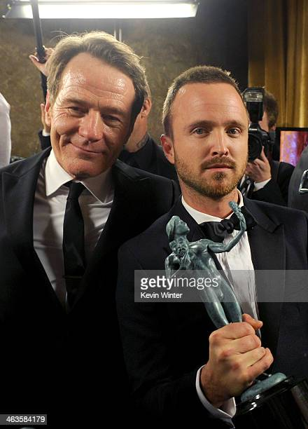 Actors Bryan Cranston and Aaron Paul attend the 20th Annual Screen Actors Guild Awards at The Shrine Auditorium on January 18, 2014 in Los Angeles,...