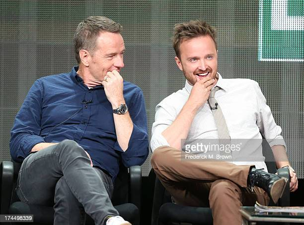 "Actors Bryan Cranston and Aaron Paul speak onstage during the ""Breaking Bad"" panel discussion at the AMC portion of the 2013 Summer Television..."