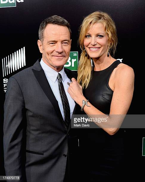 Actors Bryan Cranston and Anna Gunn arrive as AMC Celebrates the final episodes of Breaking Bad at Sony Pictures Studios on July 24 2013 in Culver...