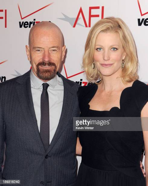 Actors Bryan Cranston and Anna Gunn attend the 13th Annual AFI Awards at Four Seasons Los Angeles at Beverly Hills on January 11 2013 in Beverly...