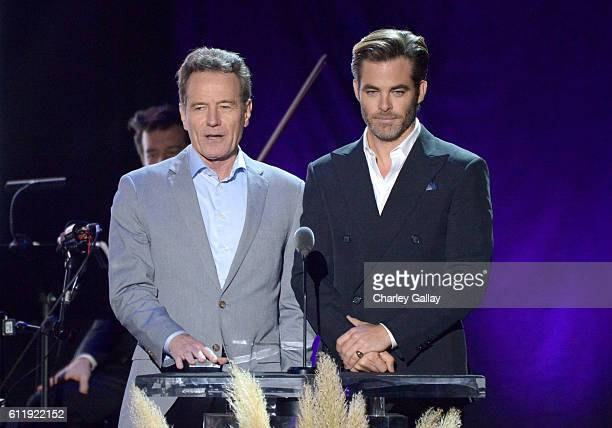 Actors Bryan Cranston and Chris Pine speak onstage during the MPTF 95th anniversary celebration with Hollywood's Night Under The Stars at MPTF...