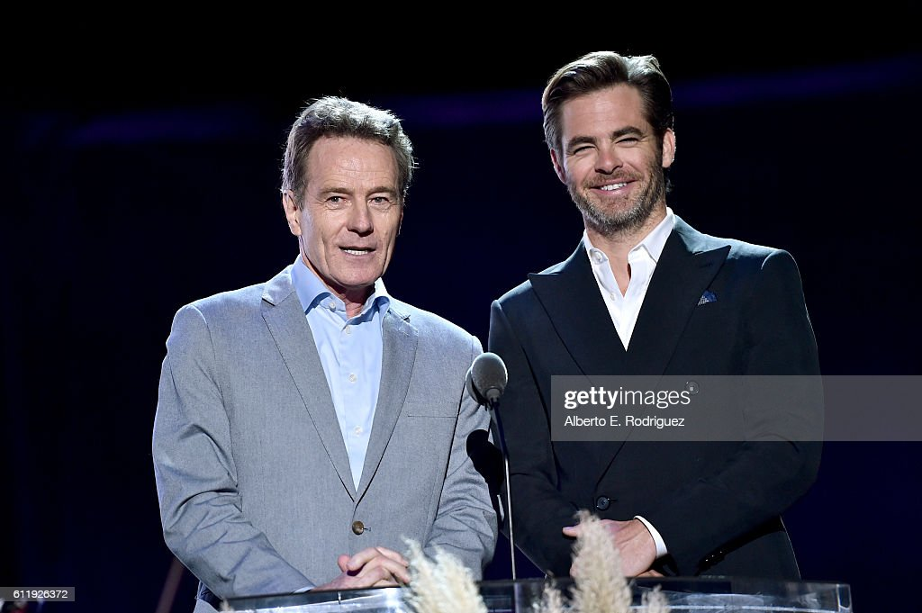 Actors Bryan Cranston (L) and Chris Pine speak onstage during the MPTF 95th anniversary celebration with 'Hollywood's Night Under The Stars' at MPTF Wasserman Campus on October 1, 2016 in Los Angeles, California.