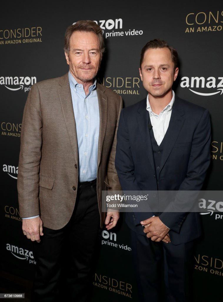 Actors Bryan Cranston (L) and Giovanni Ribisi attend Amazon original series 'Sneaky Pete' Emmy FYC Screening and panel on April 26, 2017 in Hollywood, California.