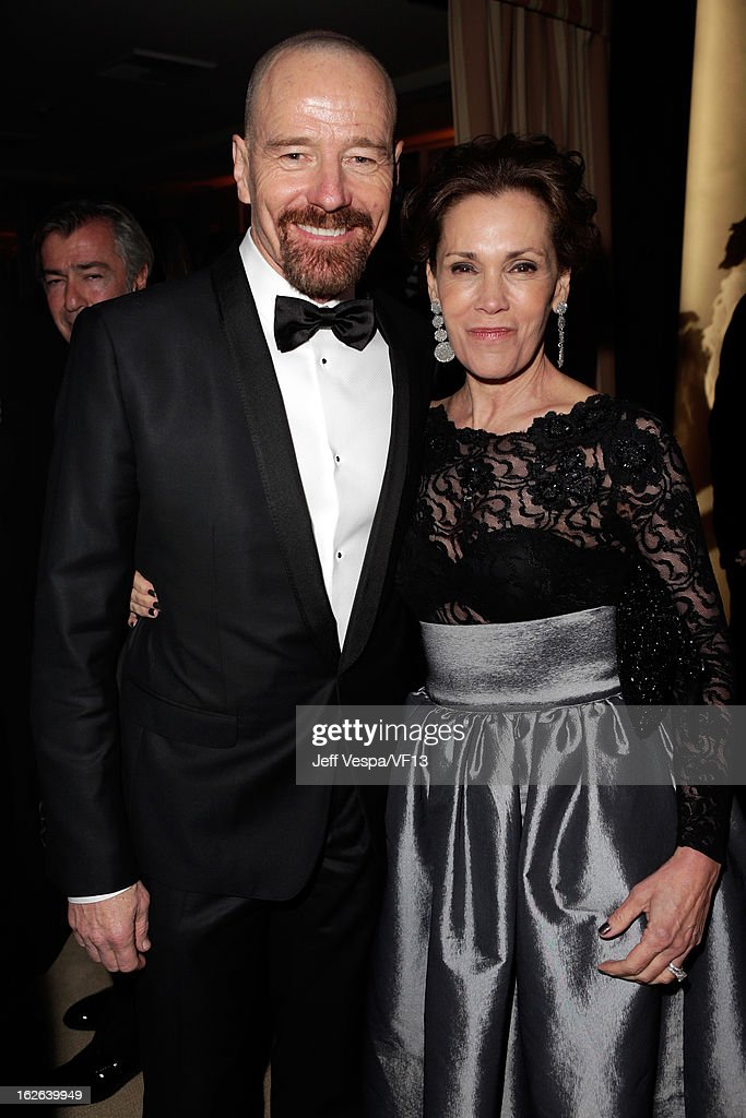 Actors Bryan Cranston (L) and Robin Dearden attend the 2013 Vanity Fair Oscar Party hosted by Graydon Carter at Sunset Tower on February 24, 2013 in West Hollywood, California.
