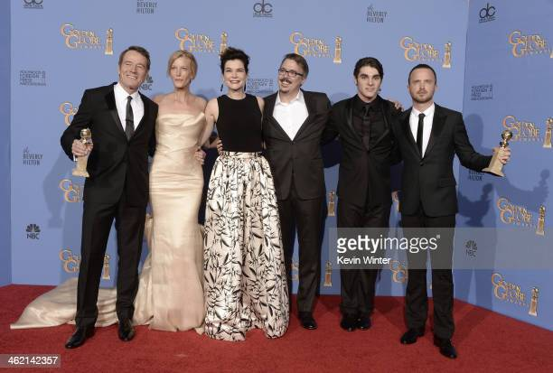 Actors Bryan Cranston, Anna Gunn and Betsy Brandt, writer-producer Vince Gilligan, actors R.J. Mitte and Aaron Paul, winners of Best Series – Drama...