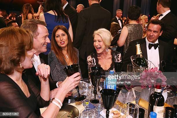 Actors Bryan Cranston Dame Helen Mirren and David James Elliott attend the 21st Annual Critics' Choice Awards at Barker Hangar on January 17 2016 in...