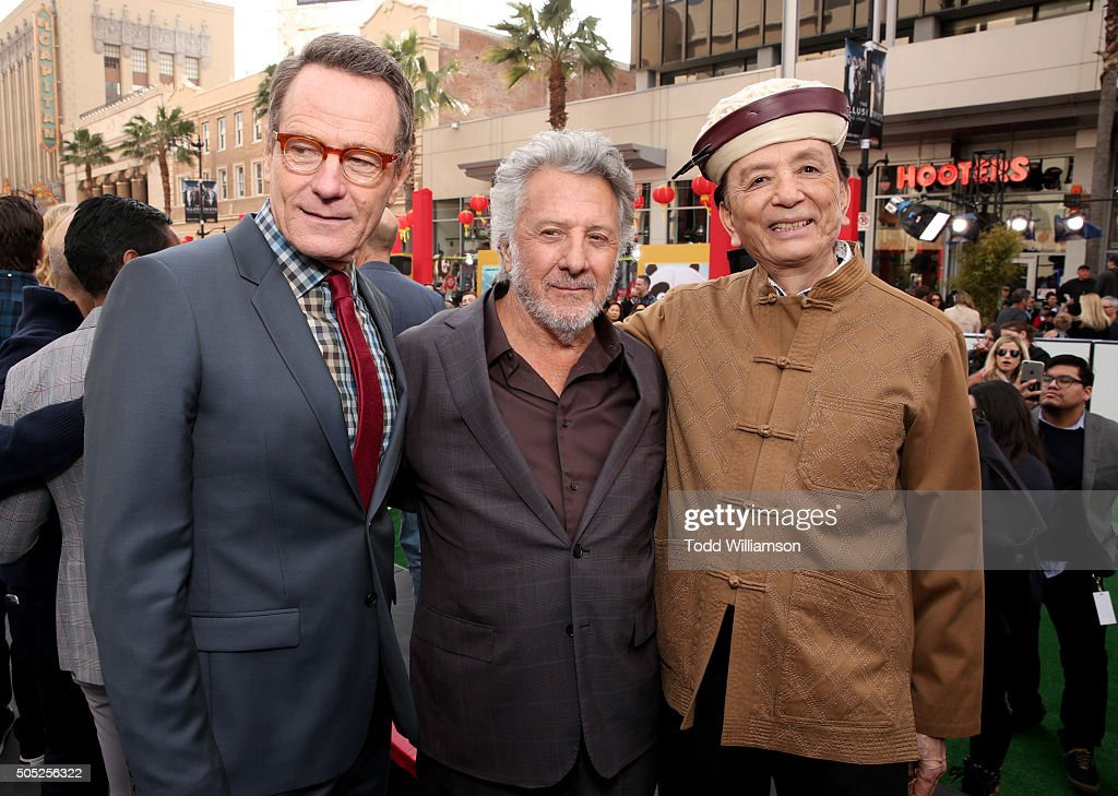 Actors Bryan Cranston, Dustin Hoffman and James Hong attend the premiere of DreamWorks Animation and Twentieth Century Fox's 'Kung Fu Panda 3' at the TCL Chinese Theatre on January 16, 2016 in Hollywood, California.