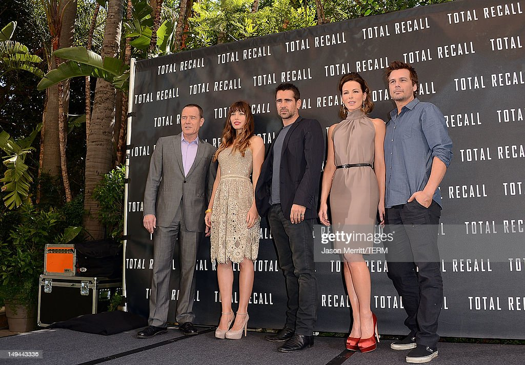Actors Bryan Cranston, Jessica Biel, Colin Farrell, Kate Beckinsale, and Director Len Wiseman attend the photo call for Columbia Pictures' 'Total Recall' held at the Four Seasons Hotel on July 28, 2012 in Los Angeles, California.