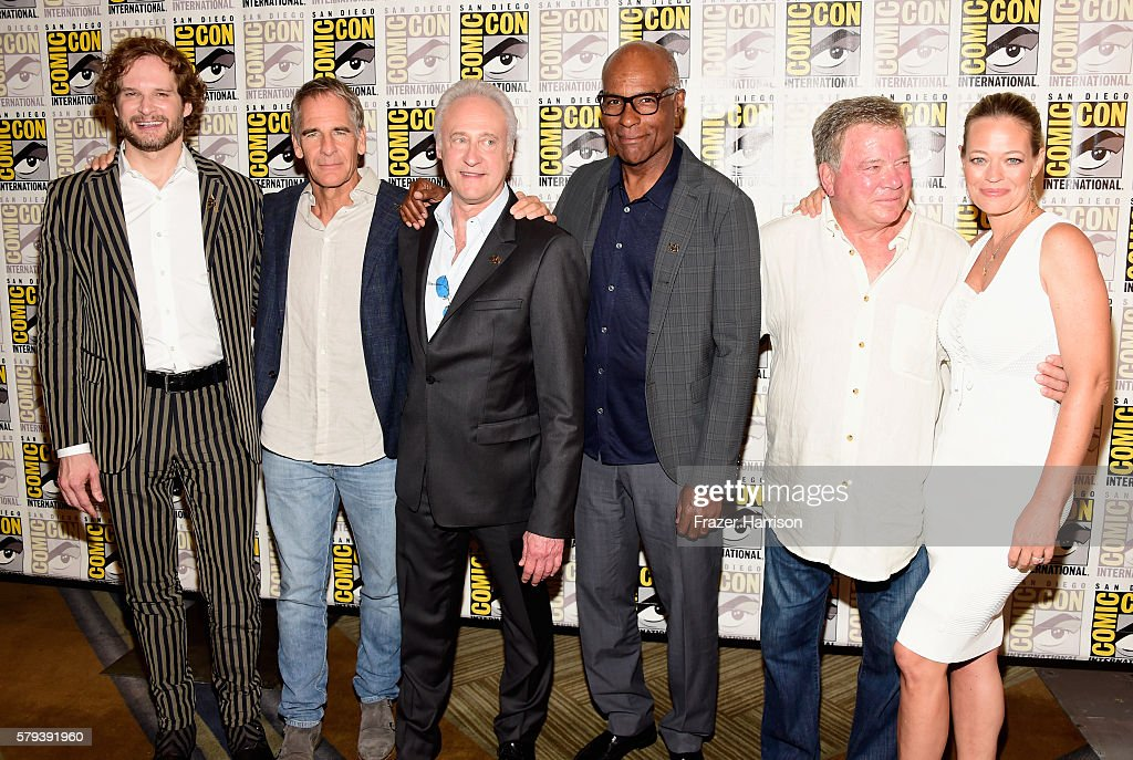 Actors Bryan Fuller, Scott Bakula, Brent Spiner, Michael Dorn, William Shatner and Jeri Ryan attend the 'Star Trek 50' press line during Comic-Con International on July 23, 2016 in San Diego, California.