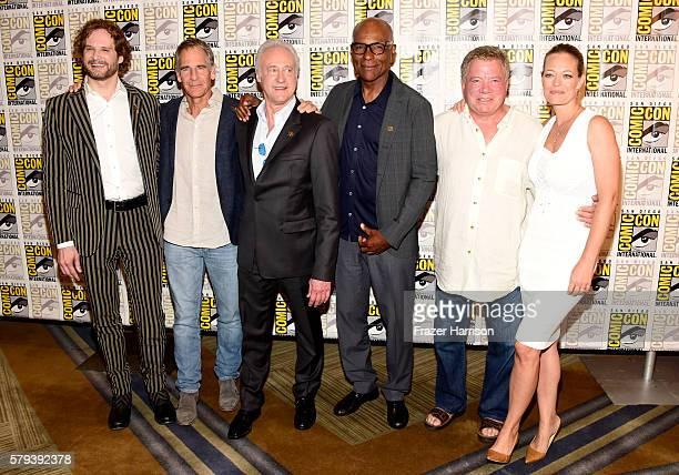 Actors Bryan Fuller Scott Bakula Brent Spiner Michael Dorn William Shatner and Jeri Ryan attend the 'Star Trek 50' press line during ComicCon...