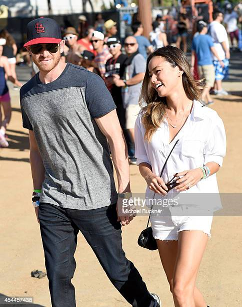 Actors Bryan Greenberg and Jamie Chung wearing American Eagle denim attend American Eagle Outfitters Celebrates The Budweiser Made in America Music...