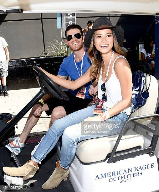 Actors Bryan Greenberg and Jamie Chung wearing American Eagle Sky High Demin attend American Eagle Outfitters Celebrates the Budweiser Made in...