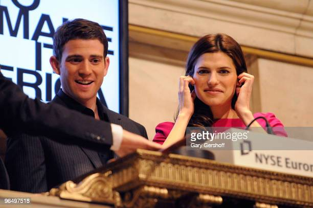 Actors Bryan Greenberg and Lake Bell ring the opening bell at the New York Stock Exchange on February 8 2010 in New York City