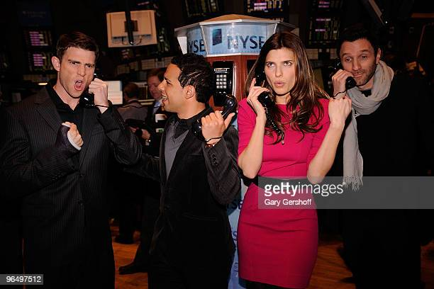 Actors Bryan Greenberg Victor Rasuk Lake Bell and show creator Ian Edelman ring the opening bell at the New York Stock Exchange on February 8 2010 in...