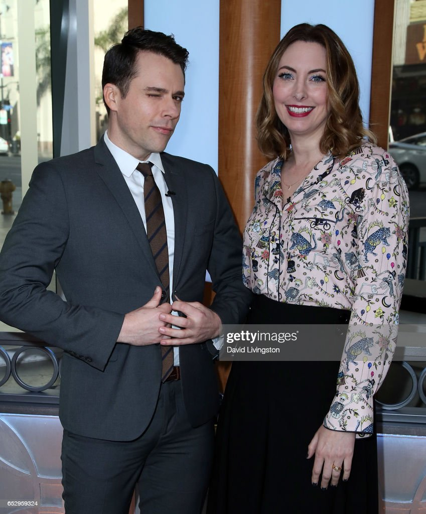 Actors Bryan Safi (L) and Erin Gibson visit Hollywood Today Live at W Hollywood on March 13, 2017 in Hollywood, California.