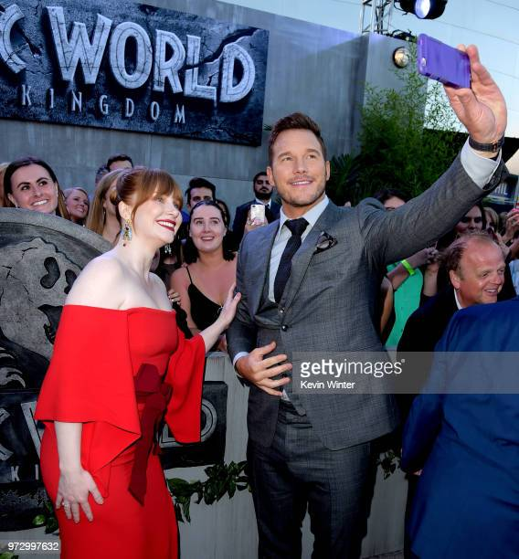 Actors Bryce Dallas Howard and Chris Pratt arrive at the premiere of Universal Pictures and Amblin Entertainment's Jurassic World Fallen Kingdom at...