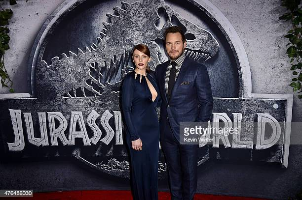 Actors Bryce Dallas Howard and Chris Pratt attend the Universal Pictures' Jurassic World premiere at the Dolby Theatre on June 9 2015 in Hollywood...