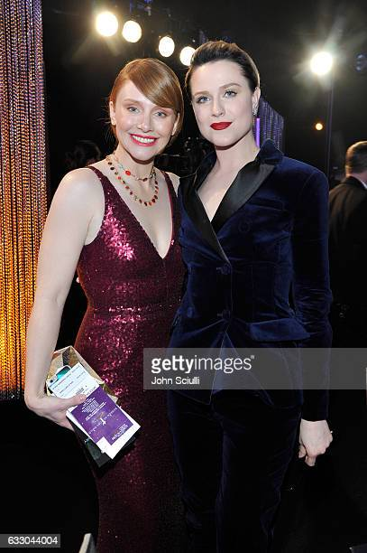 Actors Bryce Dallas Howard and Evan Rachel Wood attend The 23rd Annual Screen Actors Guild Awards Cocktail Reception at The Shrine Auditorium on...