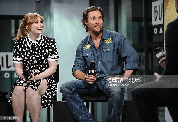 Actors Bryce Dallas Howard and Matthew McConaughey attend the Build Series to discuss the new film 'Gold' at Build Studio on January 17 2017 in New...