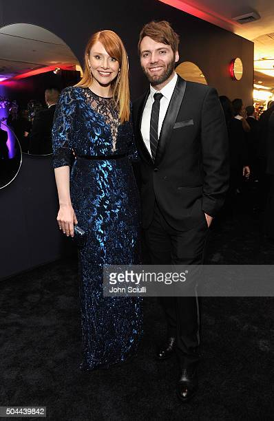 Actors Bryce Dallas Howard and Seth Gabel attend The 2016 InStyle and Warner Bros 73rd annual Golden Globe Awards PostParty at The Beverly Hilton...