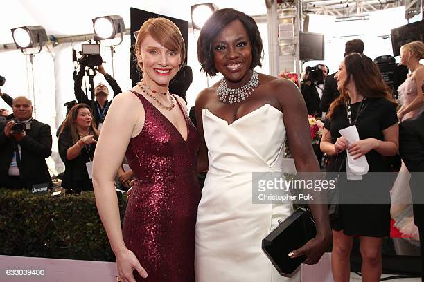 Actors Bryce Dallas Howard and Viola Davis attend The 23rd Annual Screen Actors Guild Awards at The Shrine Auditorium on January 29 2017 in Los...