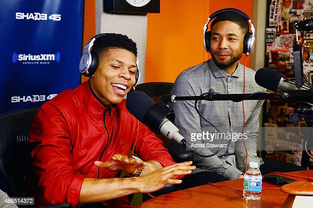 Actors Bryshere Gray and Jussie Smollett visit 'Sway in the Morning' with Sway Calloway on Eminem's Shade 45 at the SiriusXM Studios on March 16 2015...