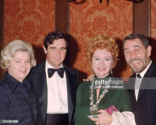 Actors Buck Taylor Amanda Blake and Ken Curtis stars of the television series 'Gunsmoke' at an event circa 1970
