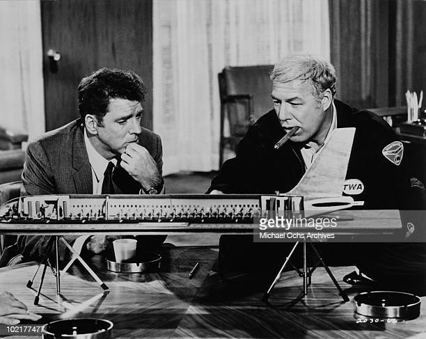 Actors Burt Lancaster and George Kennedy in a scene from the movie 'Airport' in 1970 in California