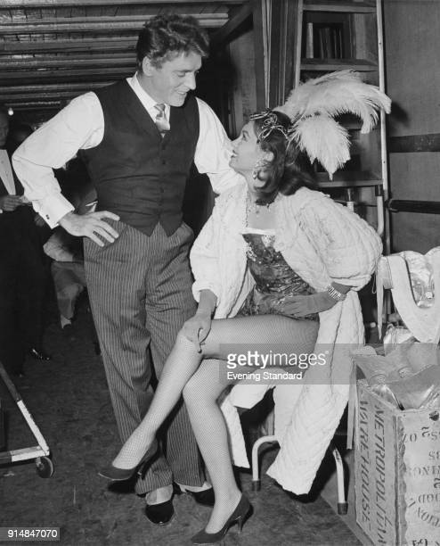 Actors Burt Lancaster and Janette Scott chatting backstage during a rehearsal for 'Night of 100 Stars' at the London Palladium UK July 1958