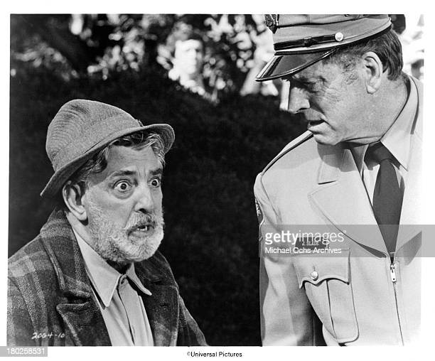 Actors Burt Lancaster and Nick Cravat on the set of the Universal Pictures movie The Midnight Man in 1974