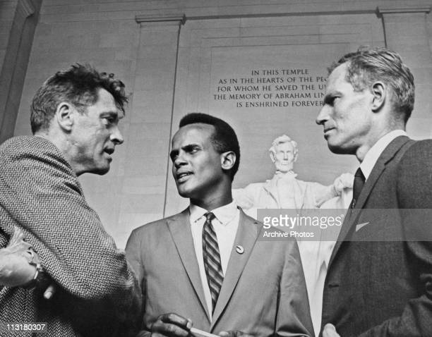 Actors Burt Lancaster, Harry Belafonte and Charlton Heston at the Lincoln Memorial during the March on Washington for Jobs and Freedom on August 28,...