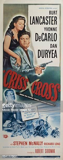 Actors Burt Lancaster Yvonne De Carlo and Dan Duryea appear on a US insert for the Universal International Pictures film 'CrissCross' 1949 The film...