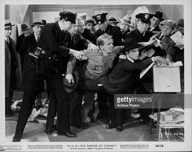 Actors Buster Keaton and Jimmy Durante in a scene from the movie 'What No Beer' 1933