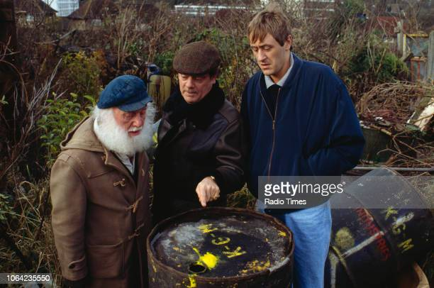 Actors Buster Merryfield David Jason and Nicholas Lyndhurst in a scene from the Christmas special episode 'Mother Nature's Son' of the BBC Television...