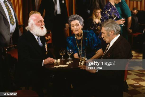 Actors Buster Merryfield Joan Geary and Howard Goorney in a pub scene from episode 'He Ain't Heavy He's My Uncle' of the BBC Television sitcom 'Only...