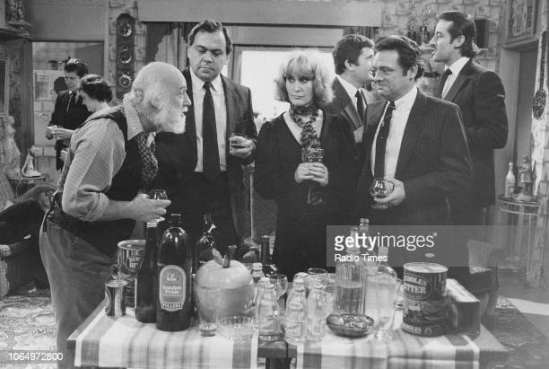Actors Buster Merryfield Mike Kemp Maureen Sweeney David Jason with Kenneth MacDonald and John Challis behind in a scene from episode 'Strained...