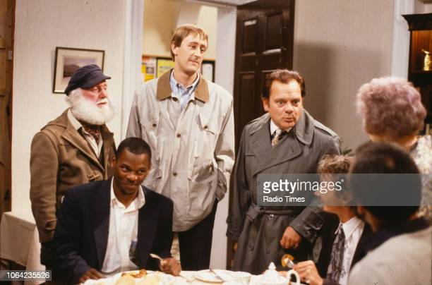 Actors Buster Merryfield Steven Woodcock Nicholas Lyndhurst David Jason and Paul Barber in a scene from episode 'The Jolly Boys Outing' of the BBC...