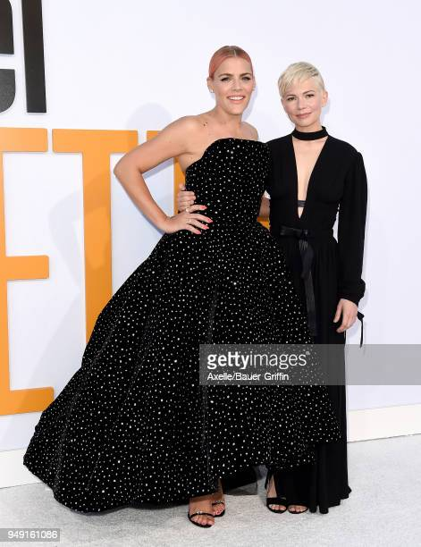 Actors Busy Philipps and Michelle Williams arrive at the premiere of STX Films' 'I Feel Pretty' at Westwood Village Theatre on April 17, 2018 in...