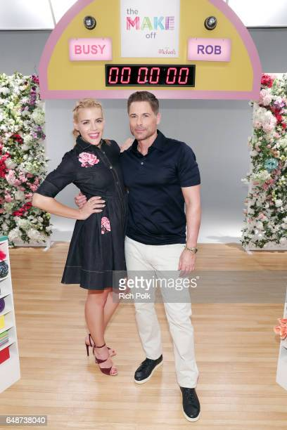 Actors Busy Philipps and Rob Lowe behind the scenes of Making with Michaels at Stage THIS on March 1 2017 in Sun Valley California