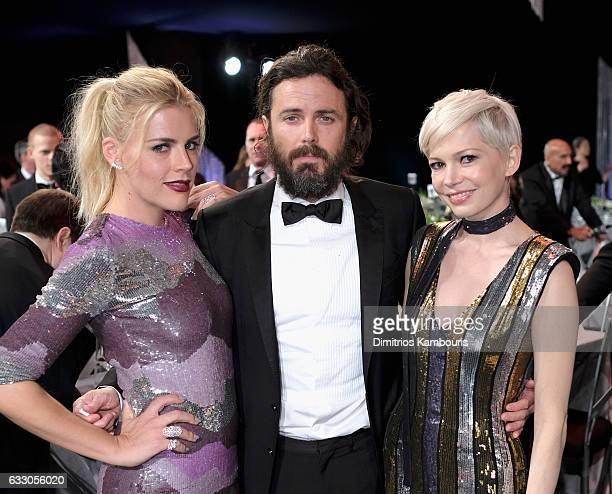 Actors Busy Phillips Casey Affleck and Michelle Williams attend The 23rd Annual Screen Actors Guild Awards at The Shrine Auditorium on January 29...