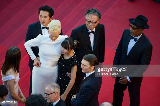 Actors Byung Heebong Giancarlo Esposito Ahn SeoHyun Steven Yeun and Tilda Swinton Paul Dano Lily Collins and Director of the Cannes Film Festival...