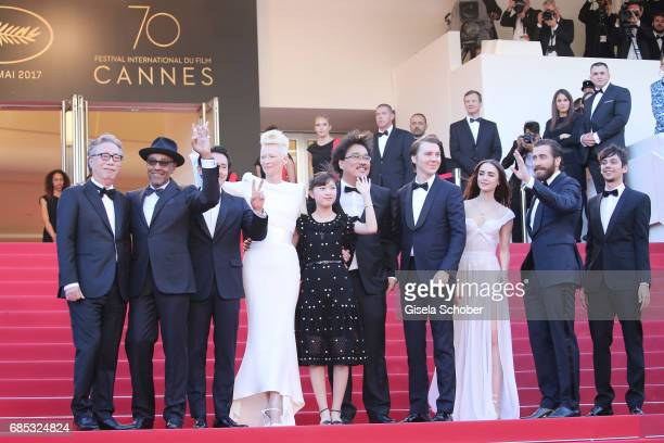 Actors Byung Heebong Giancarlo Esposito Steven Yeun Tilda Swinton and Ahn SeoHyun director Bong JoonHo Paul Dano Lily Collins Jake Gyllenhaal and...