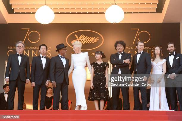 Actors Byung Heebong Steven Yeun Giancarlo Esposito Tilda Swinton and Ahn SeoHyun director Bong JoonHo and actors Paul Dano Lily Collins and Jake...