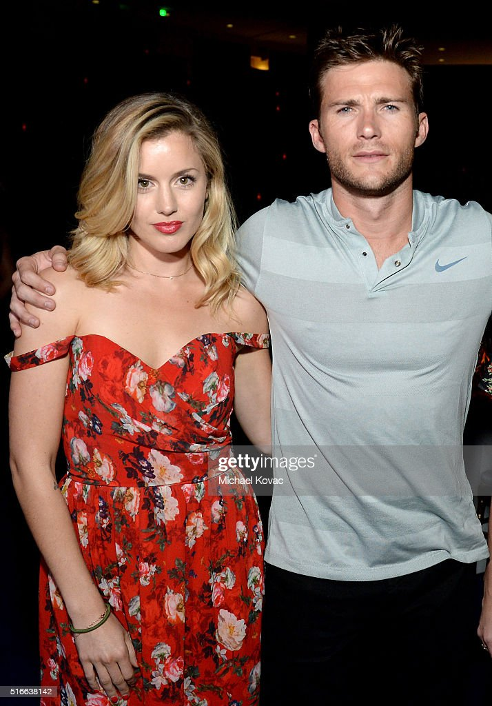 Actors Caggie Dunlop (L) and Scott Eastwood attend The Moet and Chandon Inaugural 'Holding Court' Dinner at The 2016 BNP Paribas Open on March 19, 2016 in Indian Wells, California.
