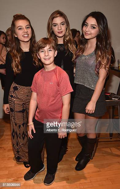 Actors Caitlin Carmichael Sawyer Sharbino Brighton Sharbino and Isabella Durham attend the premiere party of Disney XD's 'Lab Rats Elite Force' on...