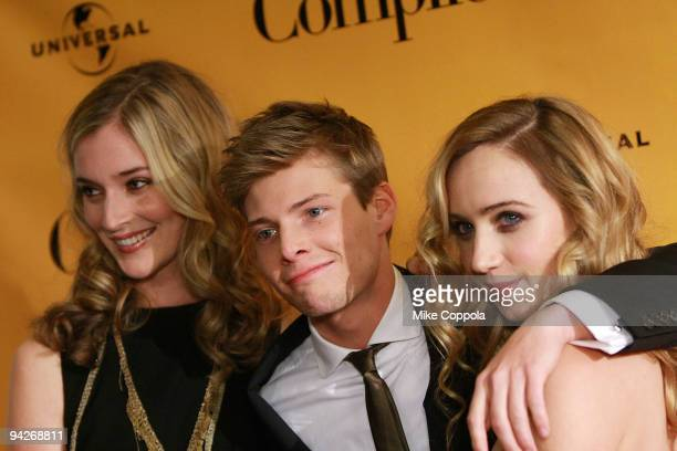 Actors Caitlin Fitzgerald Hunter Parrish and Zoe Kazan attend a screening of 'It's Complicated' at the Chelsea Clearview Cinema 9 on December 10 2009...