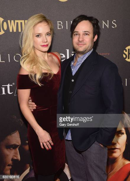 Actors Caitlin Mehner and Danny Strong attend the 'Billions' Season 2 premiere at Cipriani 25 Broadway on February 13 2017 in New York City