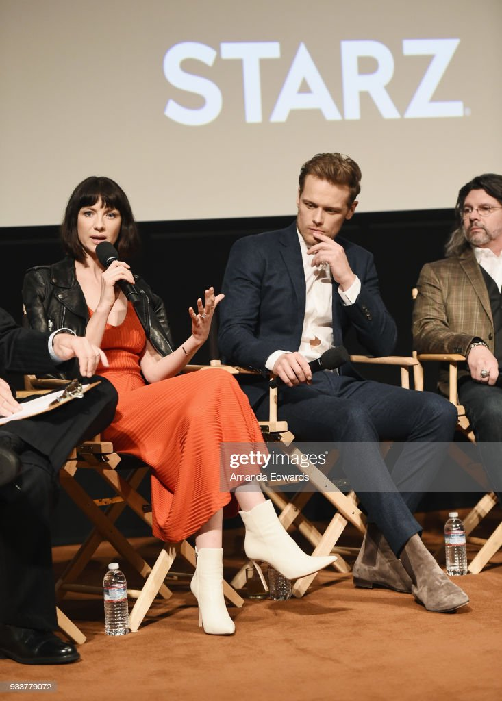 Actors Caitriona Balfe and Sam Heughan and executive producer Ronald D. Moore attend Starz's 'Outlander' FYC Special Screening and Panel at the Linwood Dunn Theater at the Pickford Center for Motion Study on March 18, 2018 in Hollywood, California.