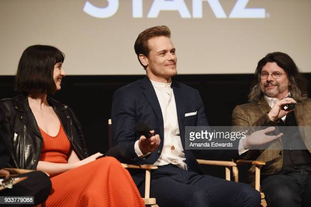 Actors Caitriona Balfe and Sam Heughan and executive producer Ronald D Moore attend Starz's 'Outlander' FYC Special Screening and Panel at the...