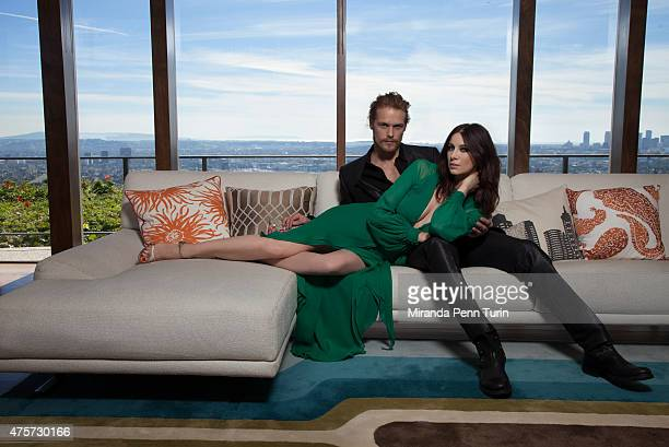 Actors Caitriona Balfe and Sam Heughan are photographed for Emmy Magazine on February 4 2015 in Los Angeles California COVER IMAGE